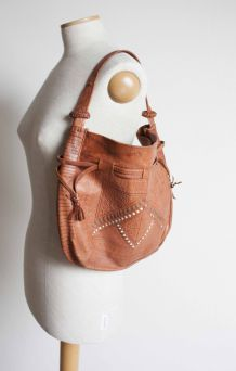 sac vintage cuir style hippie, bohème