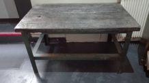 Table basse indus / Etabli fer et bois