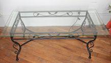 Table basse fer forgé et verre-Conforama