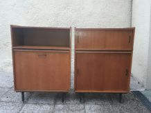 Bibliothèque moderniste bois vintage bar