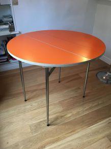 Table ronde vintage formica orange années 70