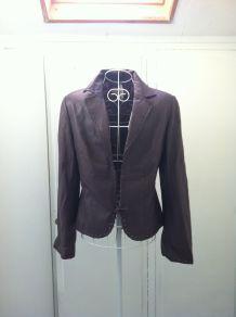 Veste en cuir Mango Leather violet foncé