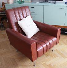 Grand Fauteuil marron années 60