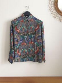 Chemise vintage à imprimé Damas 70's