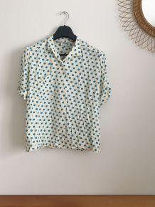 Chemise vintage beige à pois bleus 70's