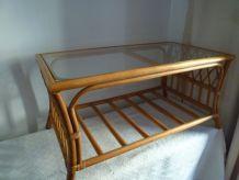table basse de salon, veranda ou terrasse en rotin/bambou