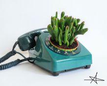 Cache pot - Téléphone Bleu Canard 1978