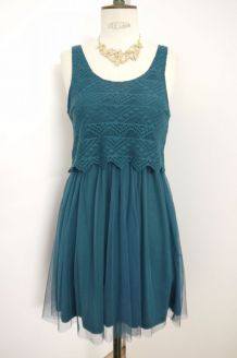Robe neuve aztèque patineuse tulle bleu canard vert