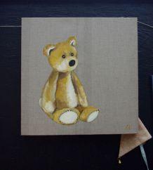 Peinture ours ou nounours sur toile lin