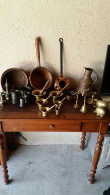 Lots d'objets en laiton bronze et cuivre.