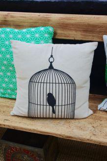Coussin coton et lin cage oiseau