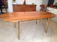 TABLE BRONZE MASSIF ET BOIS signée jacques Théophile Lepelletier