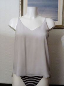Top Blanc Cassé/Gris En 100% Polyester- Taille 36- Petite Topshop