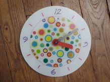 Horloge Murale Ronde En Verre Multicolore