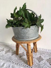 Petite table en rotin porte plante