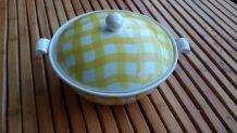 soupière vintage SALINS carreaux jaune et blanc