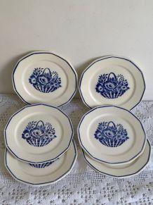 6 assiettes plates Badonviller