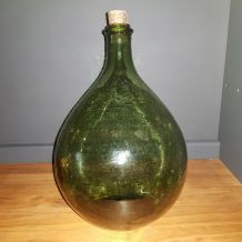 Bonbonne dame jeanne vert bouteille