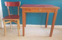 Bureau années 60 restauré avec sa chaise Baumann