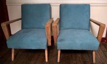 Paire de fauteuils vintage scandinaves retapissés