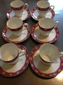6 tasses à café en porcelaine de Limoges