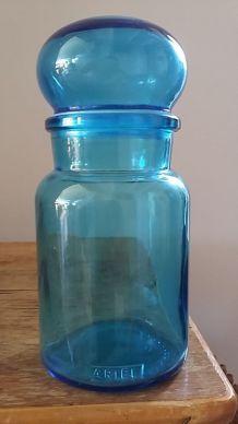 Petite bouteille en verre bleu ARIEL