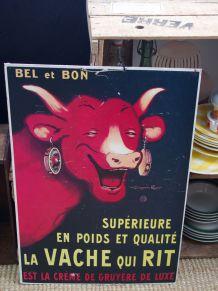 Affiche publicitaire cartonnée La vache qui rit