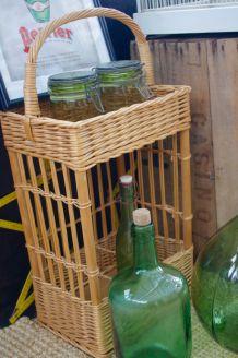 Porte bouteilles vintage osier années 60