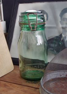 Bocal ancien vert Solidex années 30
