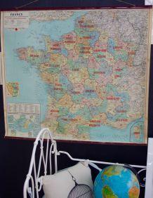 Carte de France ancienne entoilée Taride