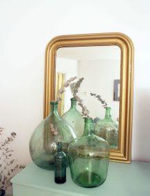 Grand miroir vintage trumeau doré années 60