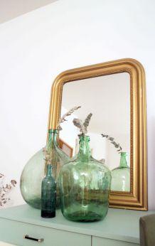 Grand miroir Louis Philippe vintage doré années 60