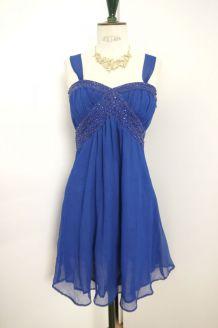 Robe de soirée bleu électrique strass noeud fluide