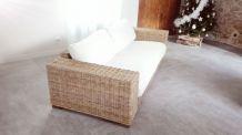 Canapé 3 places en rotin kubu