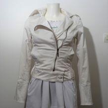 Veste Courte En Tissu Blanc Écru - Taille S