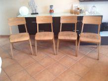Série de 4 chaises en bois pieds compas design scandinave
