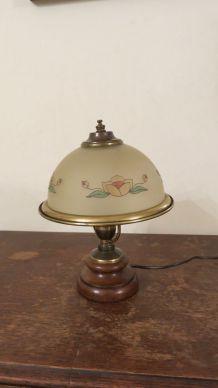 Lampe en pâte de verre + bois