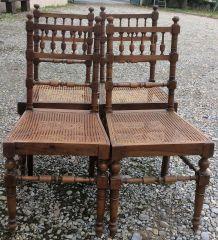 4 chaises cannées style Henri II