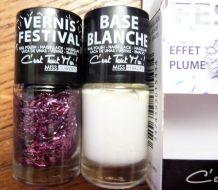 Set De 2 Vernis À Ongles- Base Blanc + Effet Plume Violet- Neuf- Miss Europe