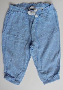 Pantalon léger bleu ciel à pois
