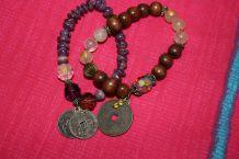 lot bracelets pièces asiatique pierre