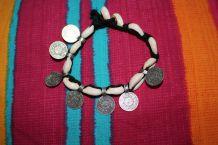 bracelet cheville effet argente pièce coquillage