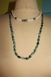 lot collier style pierre perle vert malgache