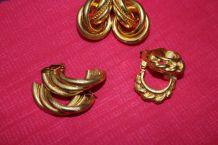 lot Boucles d'oreilles clips effet dore 80's vintage
