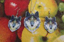 lot collier +boucles d'oreilles  style argente loup