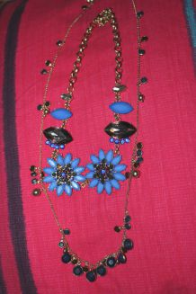 lot colliers bleu   fantaisie  diamant
