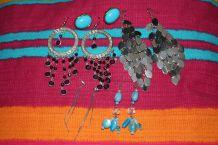 lot Boucles d'oreilles style oriental pierre agente perle