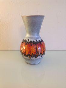 Vase en céramique gris et rouge années 60/70