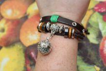 bracelet simili cuir effet argente avec porte parfum