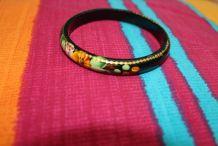 bracelet bois peint fleur dore
